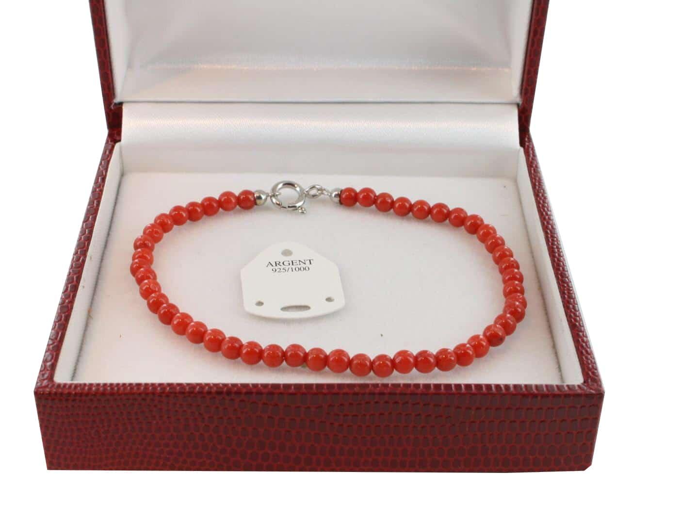 Bracelet en Corail véritable de méditerranée et argent 725 BR-CO-AR-1128
