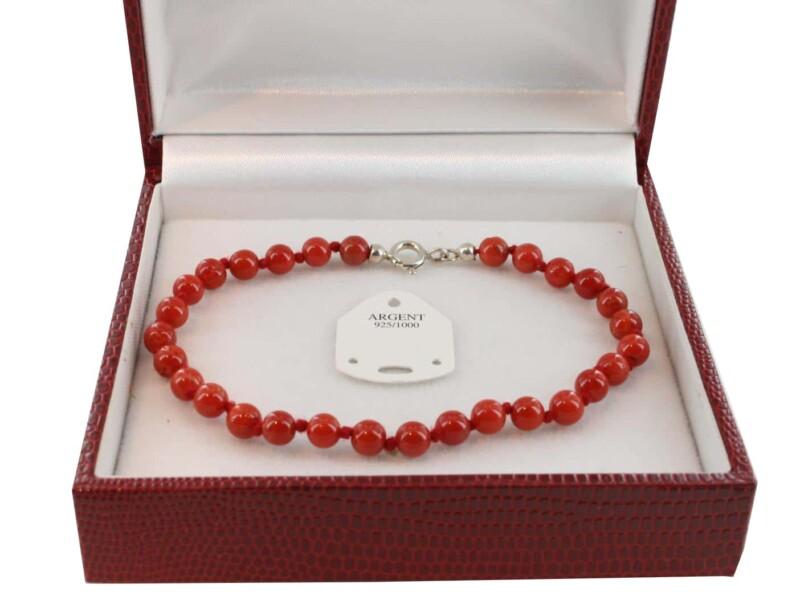 Bracelet en Corail véritable de méditerranée et argent 725 BR-CO-AR-1132
