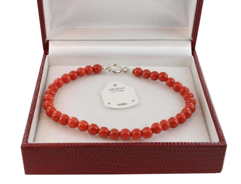 Bracelet en Corail véritable de méditerranée et argent 725 BR-CO-AR-1134
