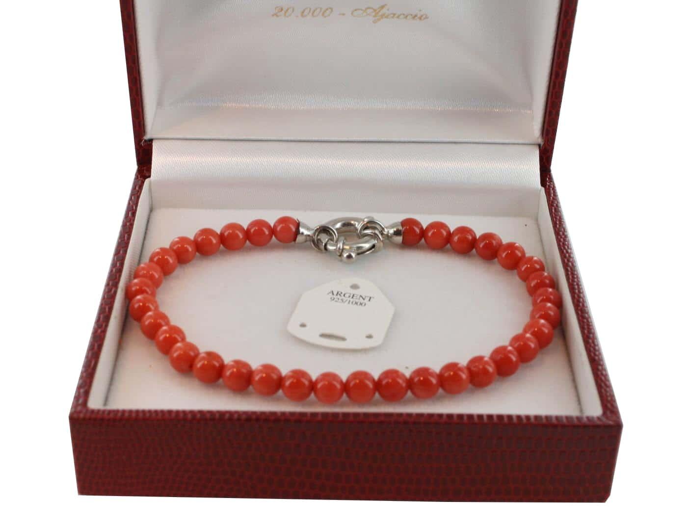 Bracelet en Corail véritable de méditerranée et argent 725 BR-CO-AR-1136