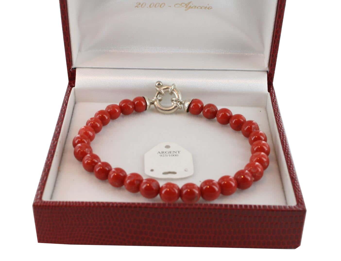 Bracelet en Corail véritable de méditerranée et argent 725 BR-CO-AR-1137