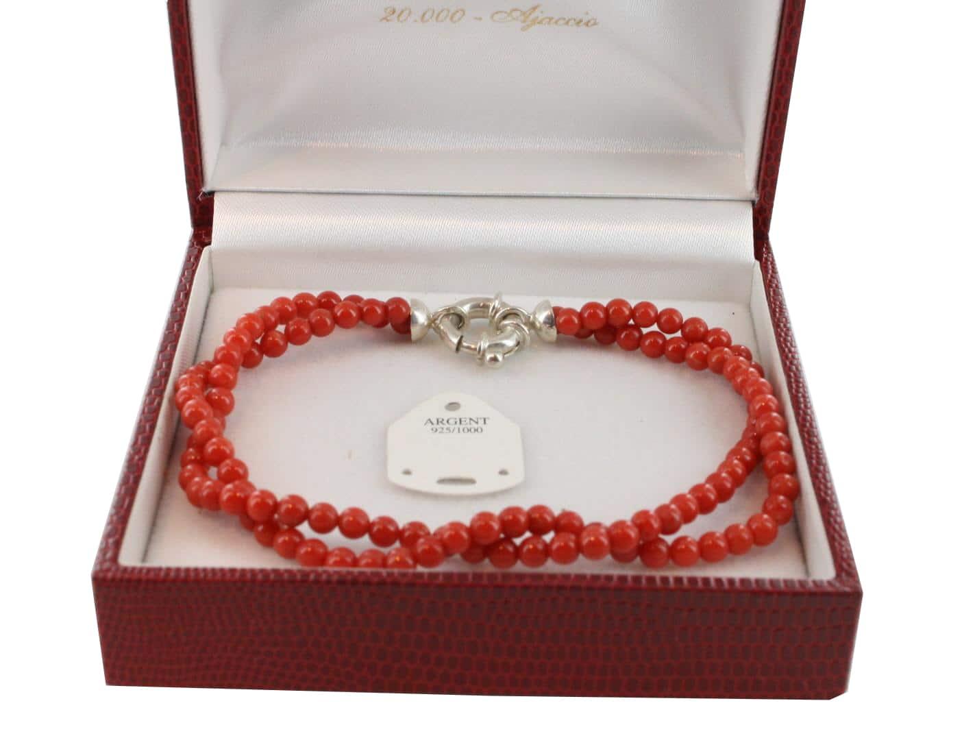 Bracelet en Corail véritable de méditerranée et argent 725 BR-CO-AR-1138
