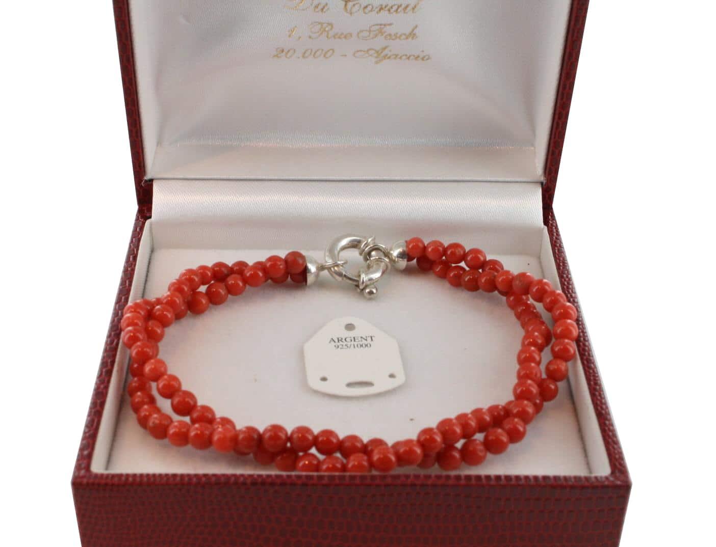 Bracelet en Corail véritable de méditerranée et argent 725 BR-CO-AR-1139