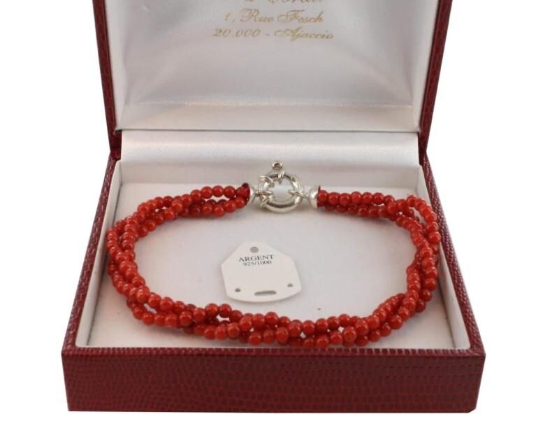 Bracelet en Corail véritable de méditerranée et argent 725 BR-CO-AR-1140