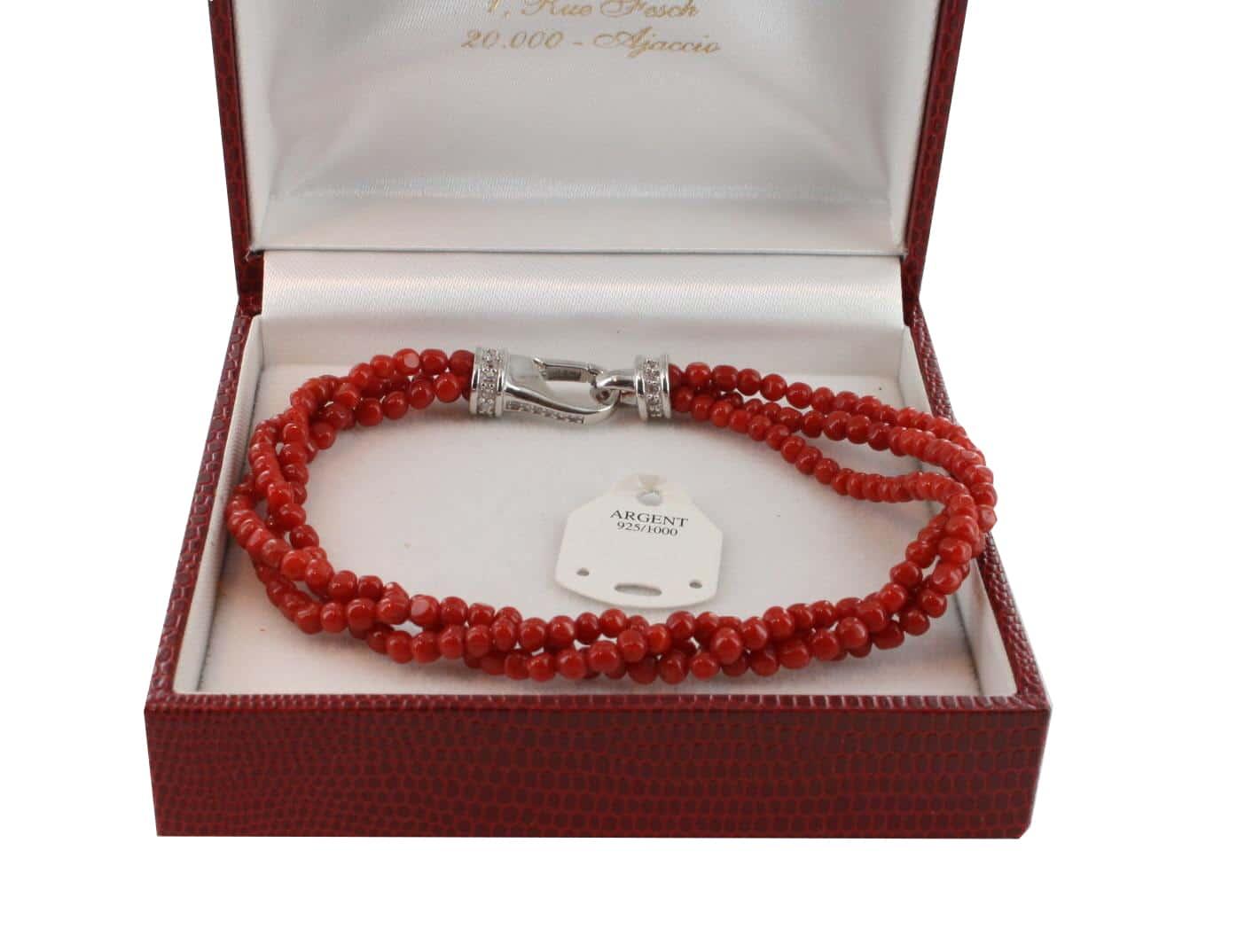 Bracelet en Corail véritable de méditerranée et argent 725 BR-CO-AR-1144