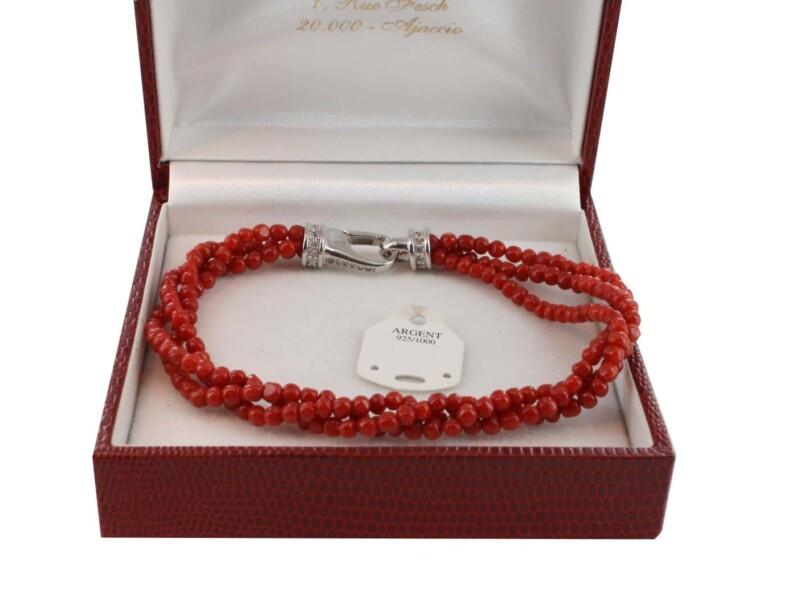 Bracelet en Corail véritable de méditerranée et argent 725 BR-CO-AR-1145