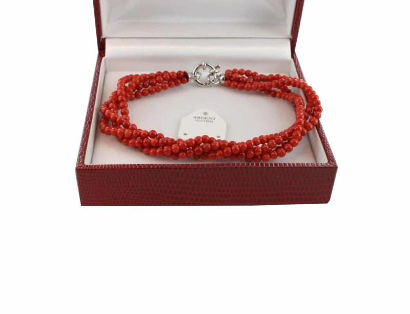 Bracelet en Corail véritable de méditerranée et argent 725 BR-CO-AR-1147