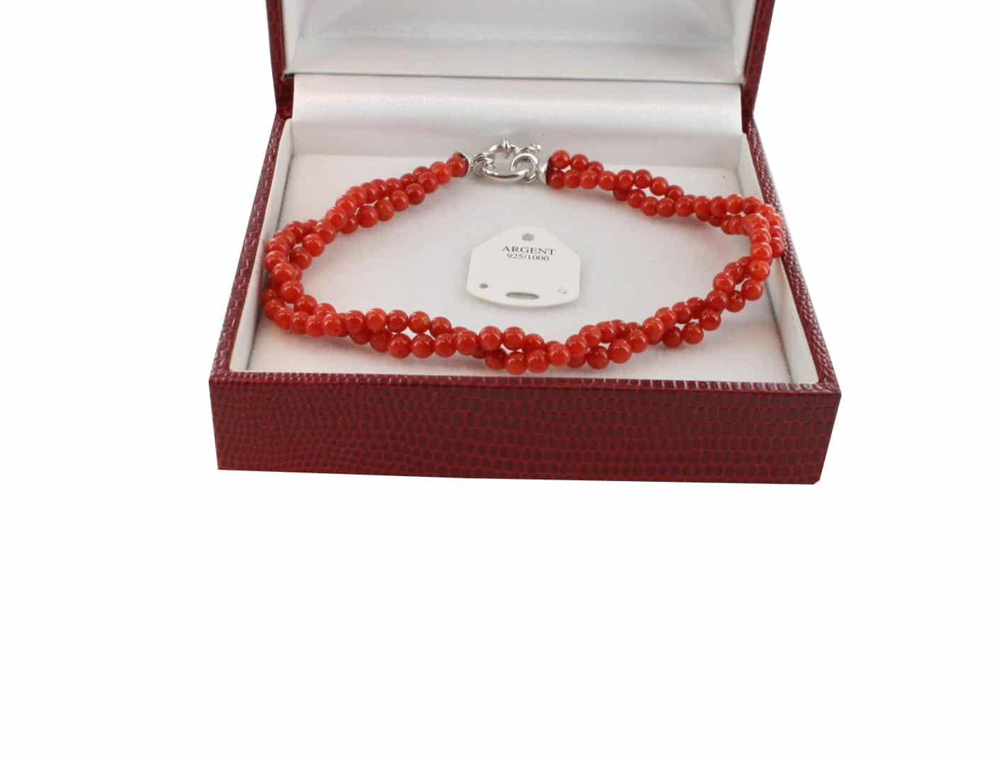 Bracelet en Corail véritable de méditerranée et argent 725 BR-CO-AR-1149