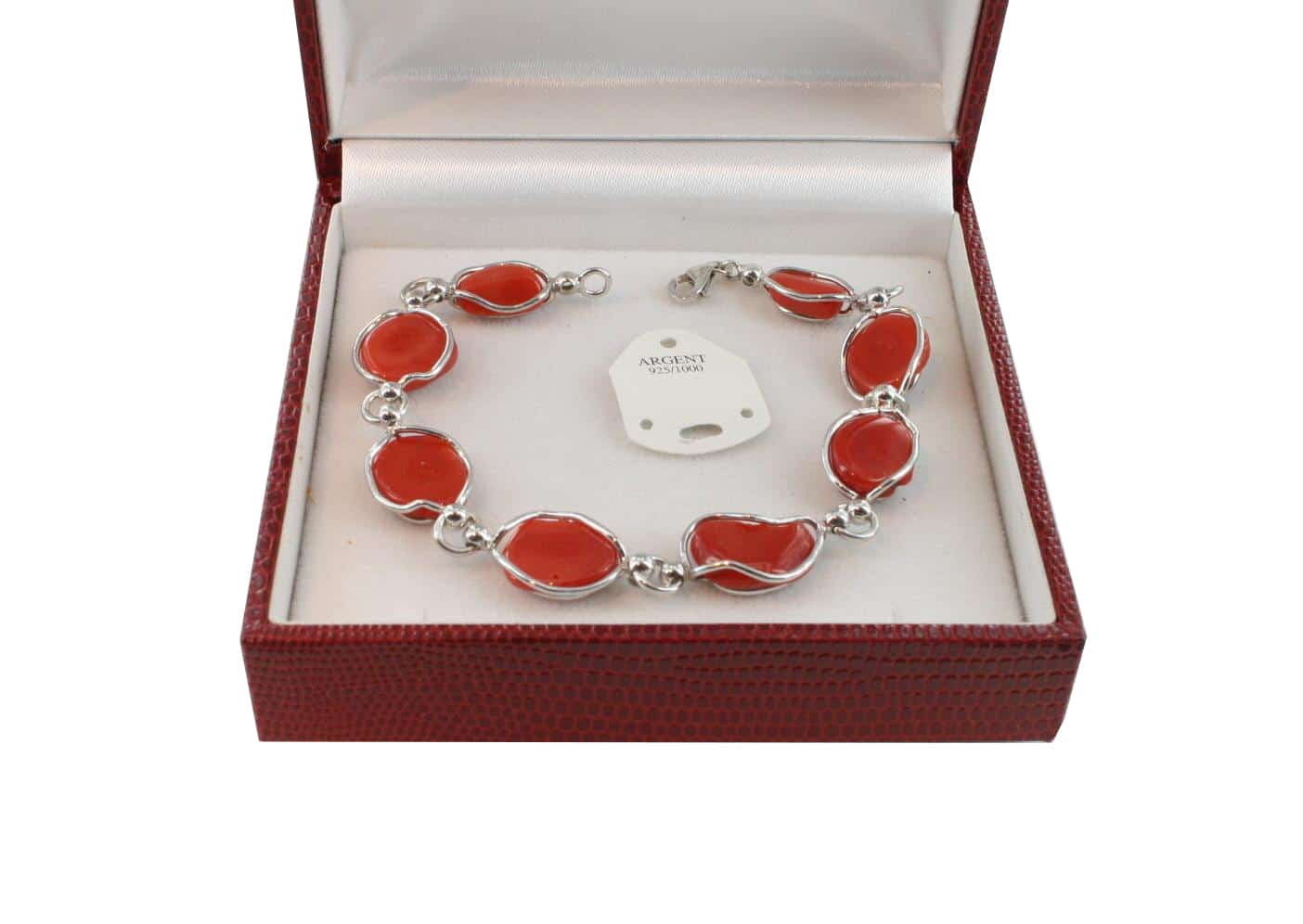 Bracelet en Corail véritable de méditerranée et argent 725 BR-CO-AR-1152