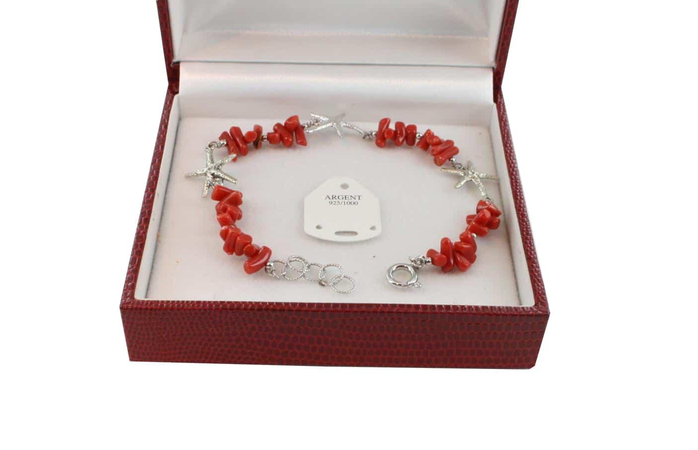 Bracelet en Corail véritable de méditerranée et argent 725 BR-CO-AR-1153