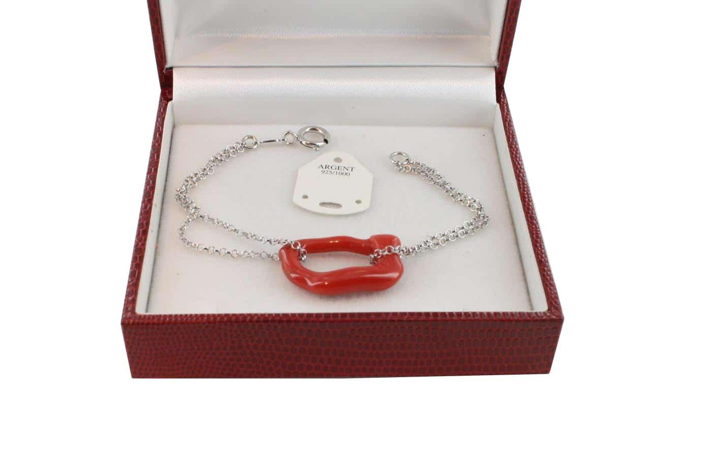 Bracelet en Corail véritable de méditerranée et argent 725 BR-CO-AR-1155