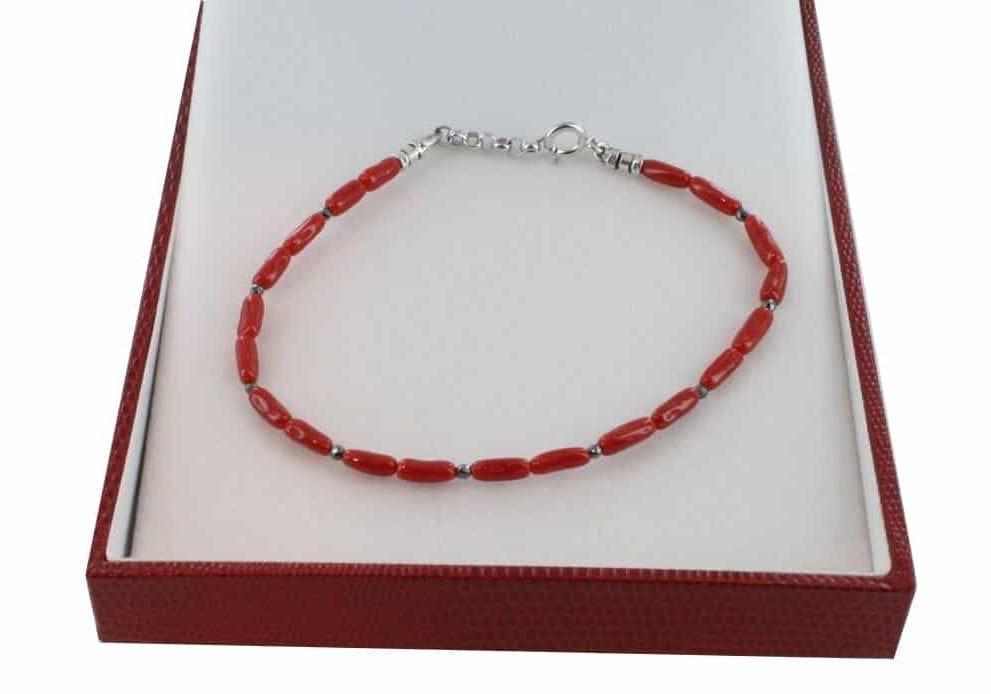 Bracelet homme en Corail véritable de méditerranée et argent 725 BR-CO-AR-H-1500