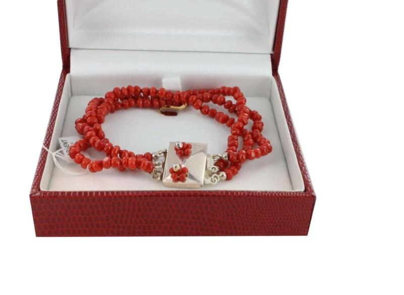 Bracelet en Corail véritable de méditerranée et argent 725 BR-CO-AR-1159