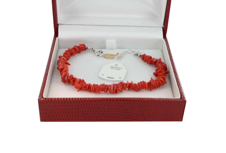 Bracelet en Corail véritable de méditerranée et argent 725 BR-CO-AR-1161