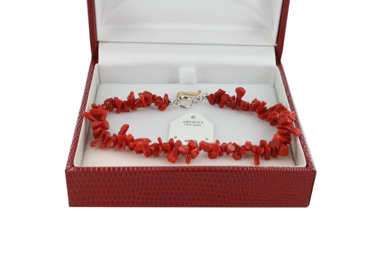 Bracelet en Corail véritable de méditerranée et argent 725 BR-CO-AR-1164