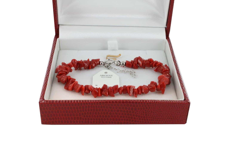 Bracelet en Corail véritable de méditerranée et argent 725 BR-CO-AR-1165