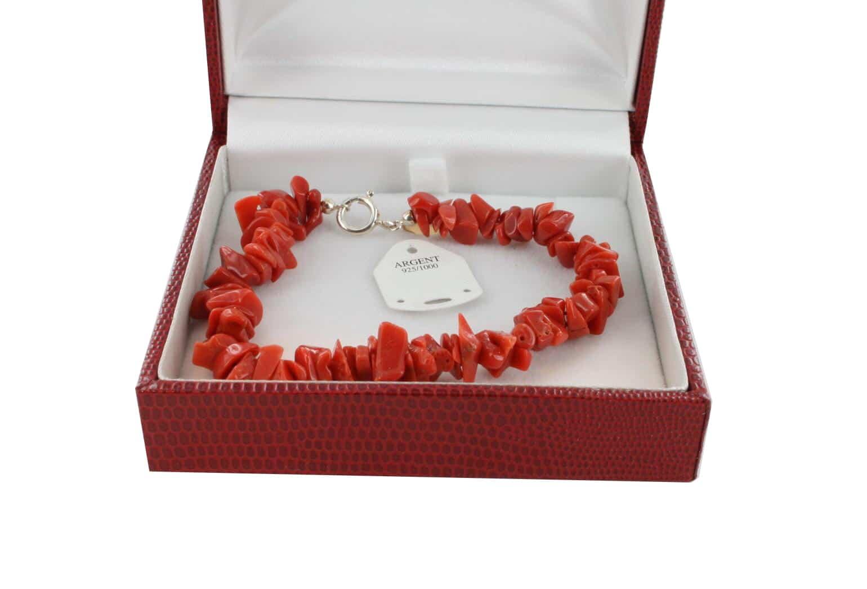 Bracelet en Corail véritable de méditerranée et argent 725 BR-CO-AR-1167