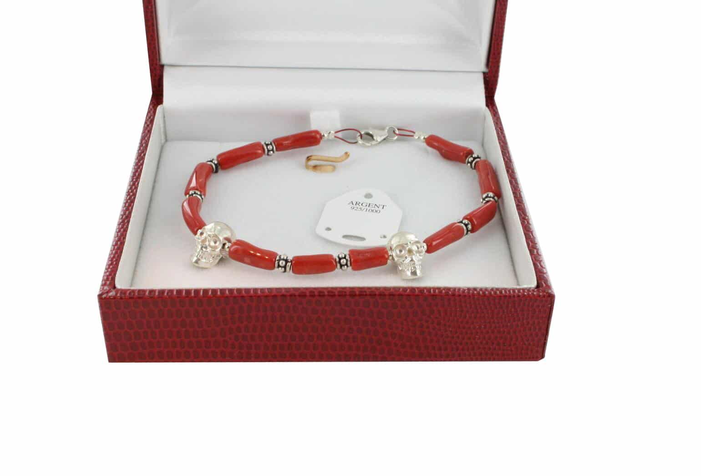 Bracelet en Corail véritable de méditerranée et argent 725 BR-CO-AR-1169