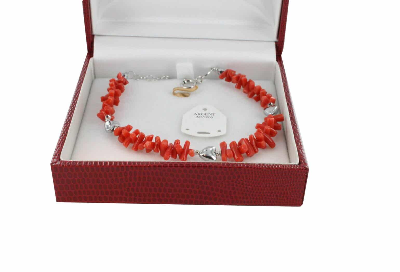 Bracelet en Corail véritable de méditerranée et argent 725 BR-CO-AR-1170