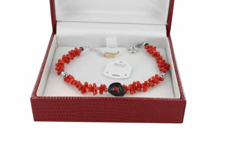 Bracelet en Corail véritable de méditerranée et argent 725 BR-CO-AR-1171