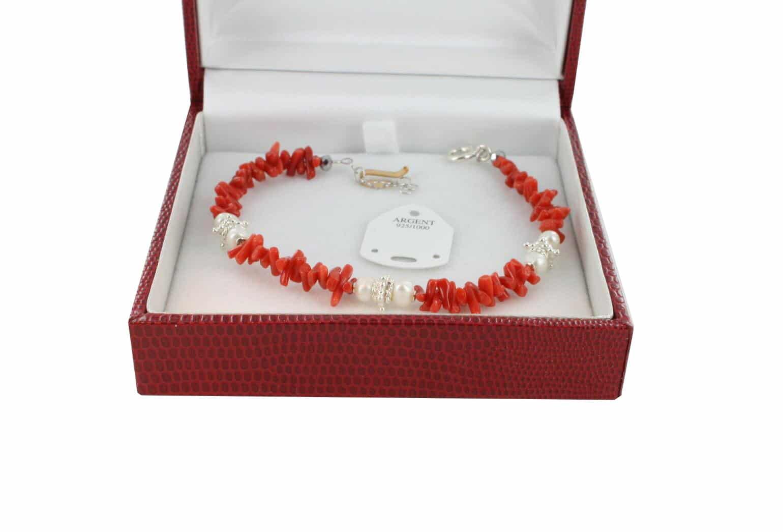Bracelet en Corail véritable de méditerranée et argent 725 BR-CO-AR-1175