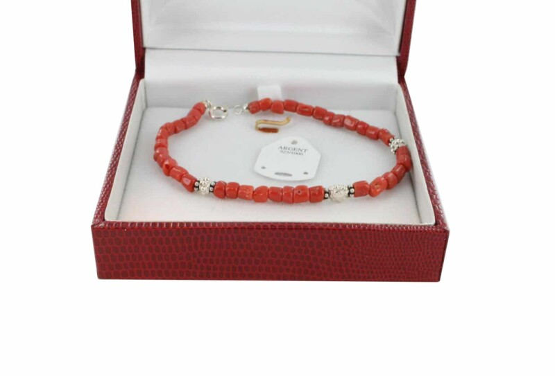 Bracelet en Corail véritable de méditerranée et argent 725 BR-CO-AR-1176