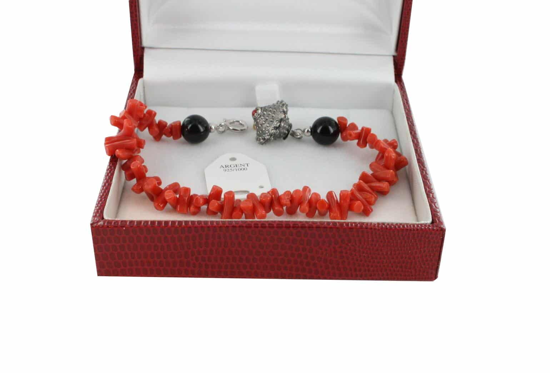 Bracelet en Corail véritable de méditerranée et argent 725 BR-CO-AR-1177