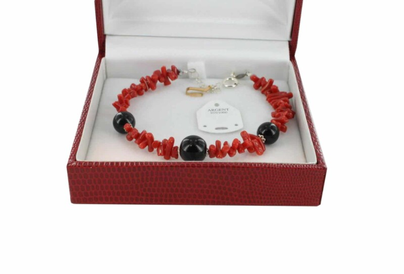 Bracelet en Corail véritable de méditerranée et argent 725 BR-CO-AR-1178