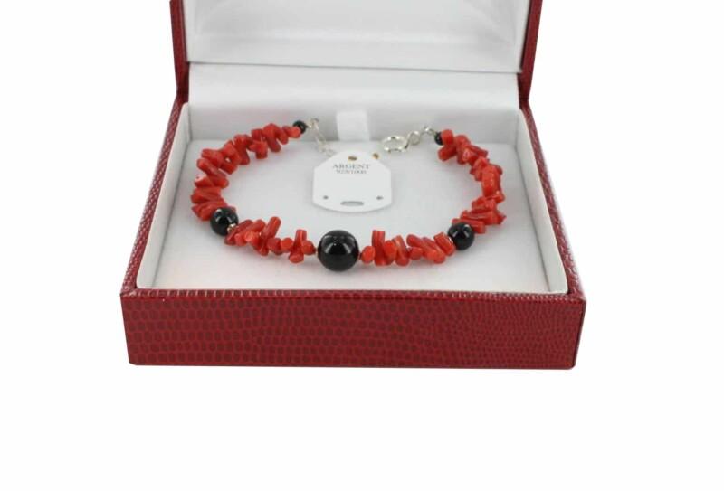 Bracelet en Corail véritable de méditerranée et argent 725 BR-CO-AR-1180