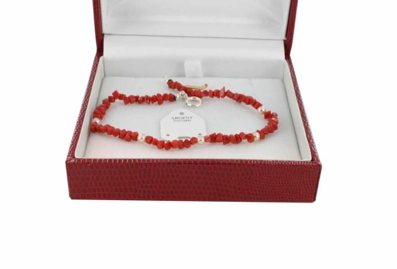 Bracelet en Corail véritable de méditerranée et argent 725 BR-CO-AR-1182