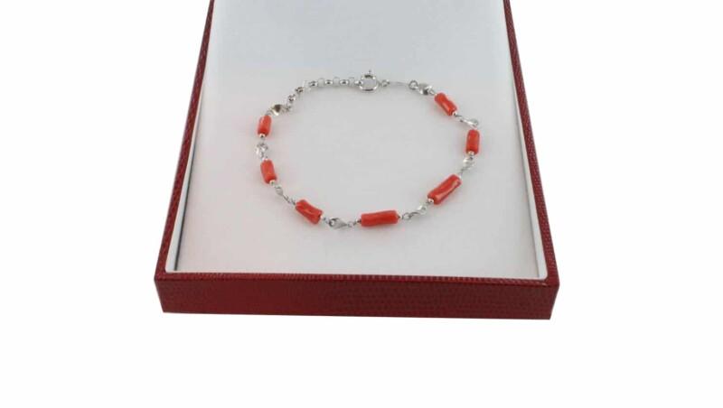Bracelet homme en Corail véritable de méditerranée et argent 725 BR-CO-AR-H-1503