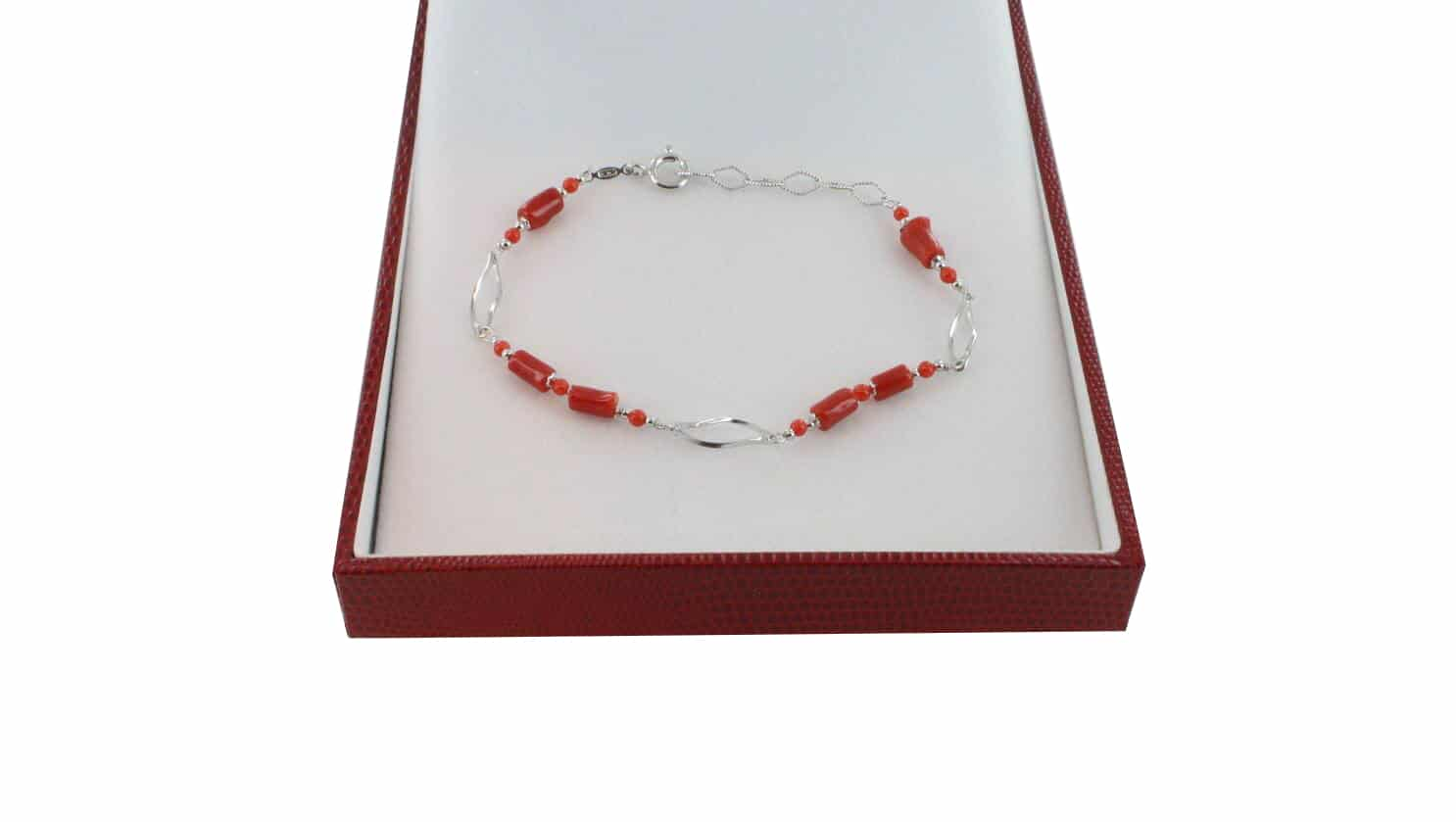Bracelet homme en Corail véritable de méditerranée et argent 725 BR-CO-AR-H-1505