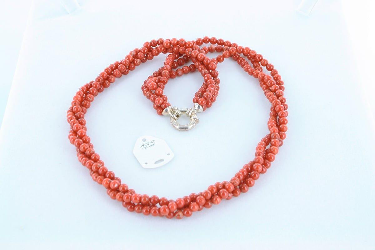 Collier en corail rouge véritable de Méditerranée 039