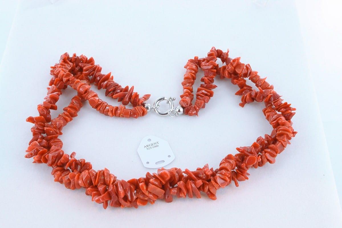 Collier en corail rouge véritable de Méditerranée 045