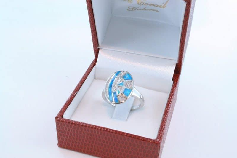 bague opale bleu et argent 925 par 1000 002