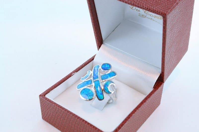 bague opale bleu et argent 925 par 1000 004