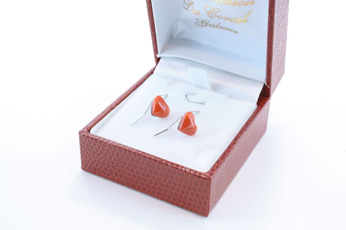 Boucles d'Oreilles en corail rouge et argent 925 par 1000 BO-CO-AR-016