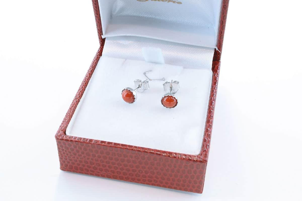 Boucles d'Oreilles en corail rouge et argent 925 par 1000 BO-CO-AR-002
