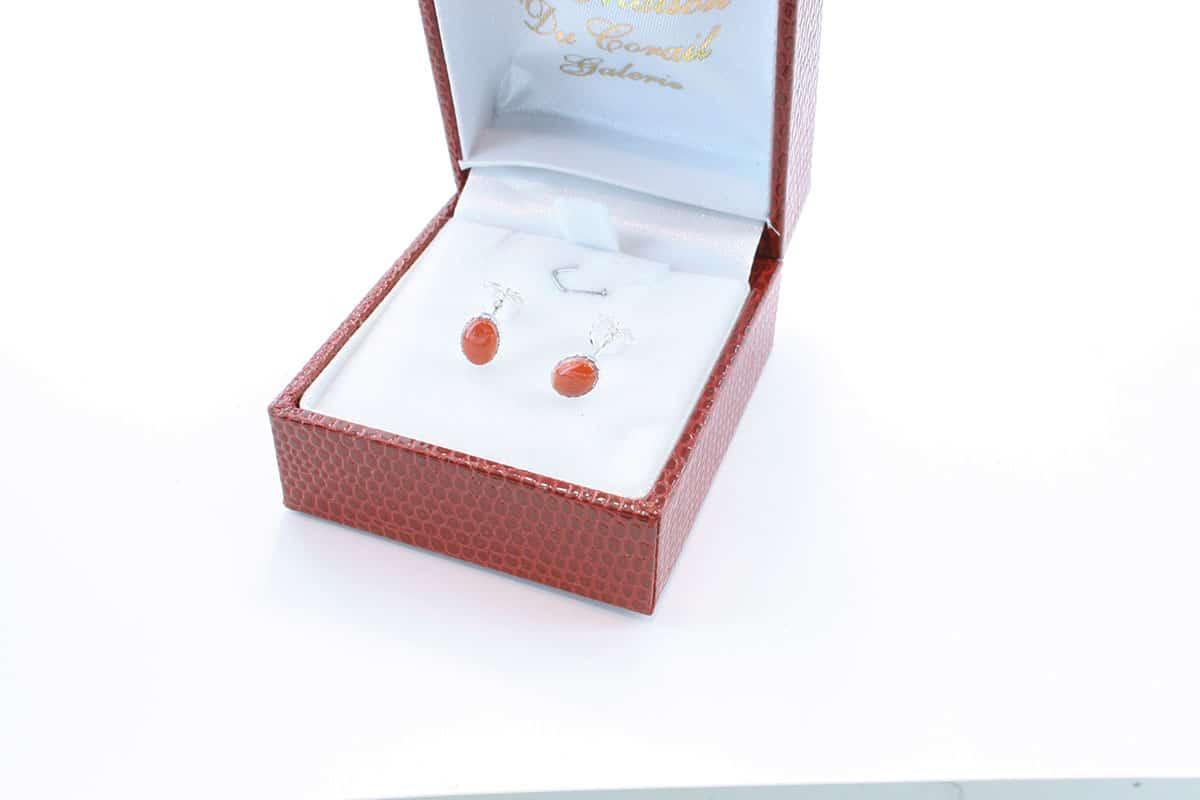 Boucles d'Oreilles en corail rouge et argent 925 par 1000 BO-CO-AR-005