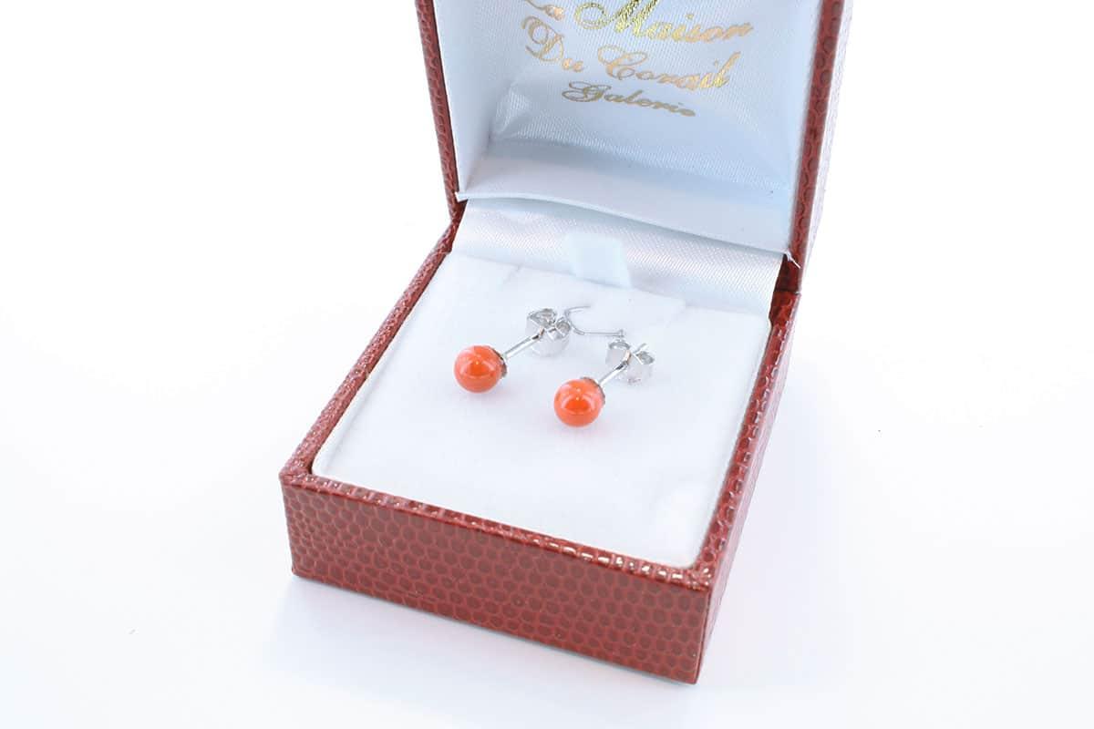 Boucles d'Oreilles en corail rouge et argent 925 par 1000 BO-CO-AR-008