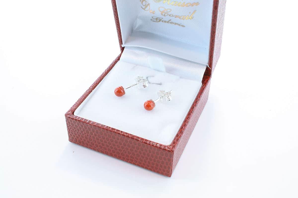 Boucles d'Oreilles en corail rouge et argent 925 par 1000 BO-CO-AR-010