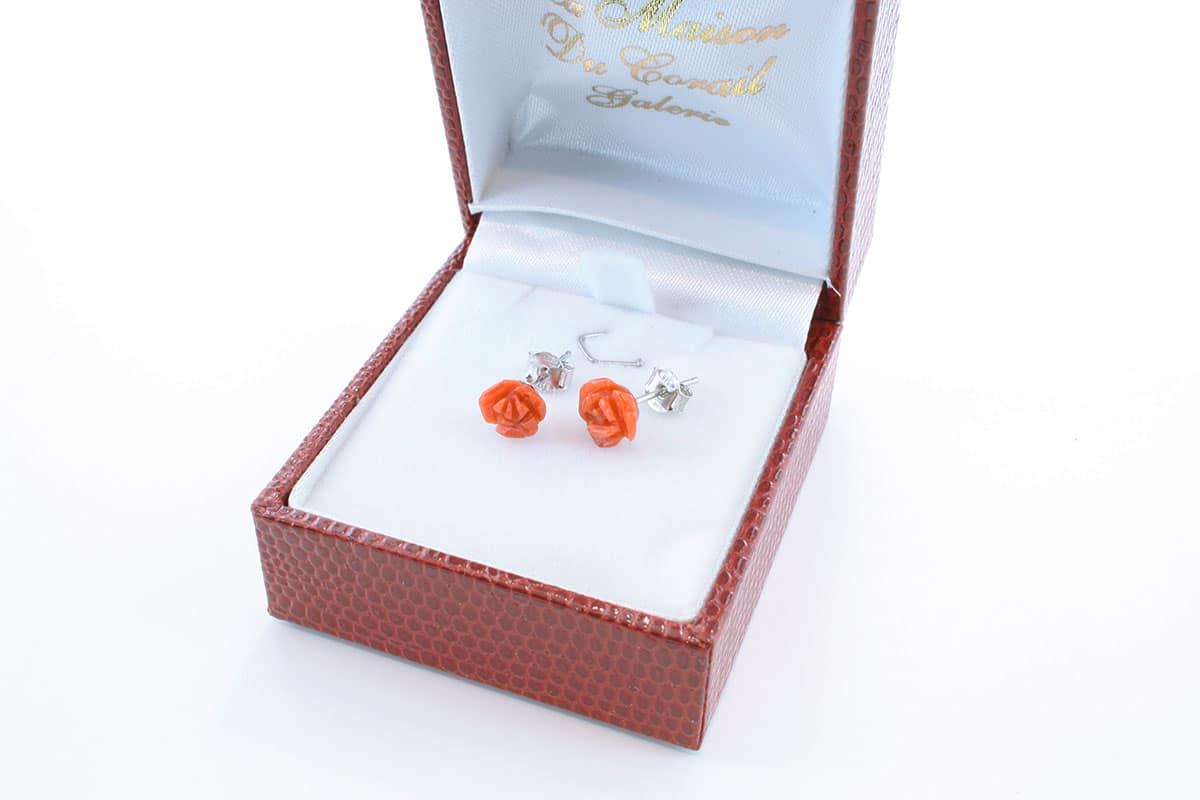 Boucles d'Oreilles en corail rouge et argent 925 par 1000 BO-CO-AR-012