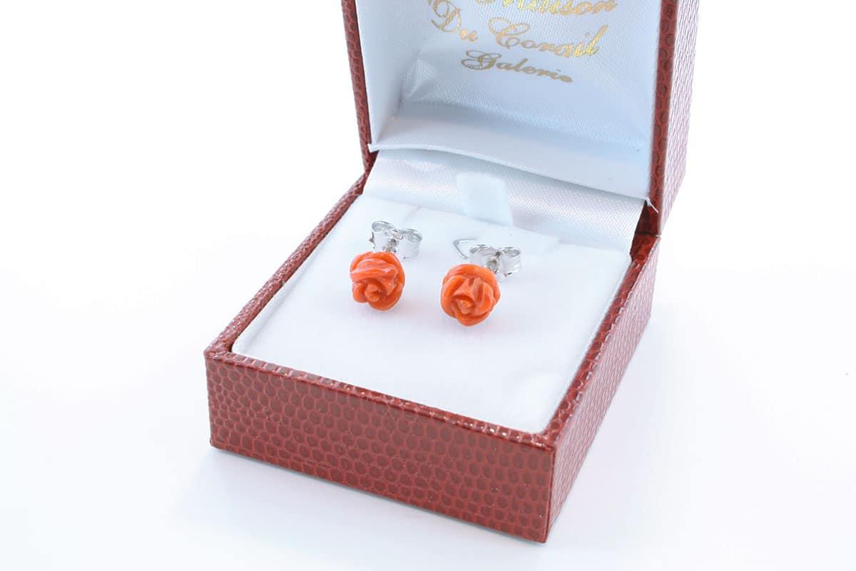 Boucles d'Oreilles en corail rouge et argent 925 par 1000 BO-CO-AR-014