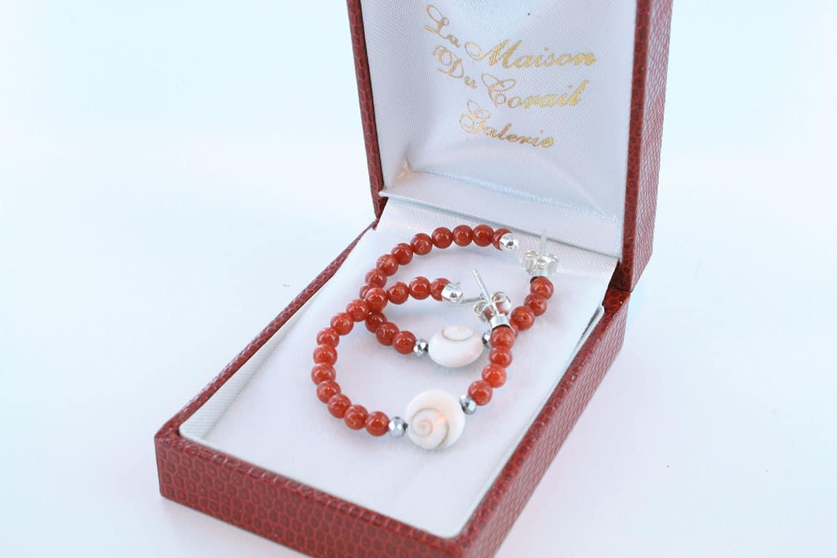 Boucles d'Oreilles en corail rouge et argent 925 par 1000 BO-CO-AR-017