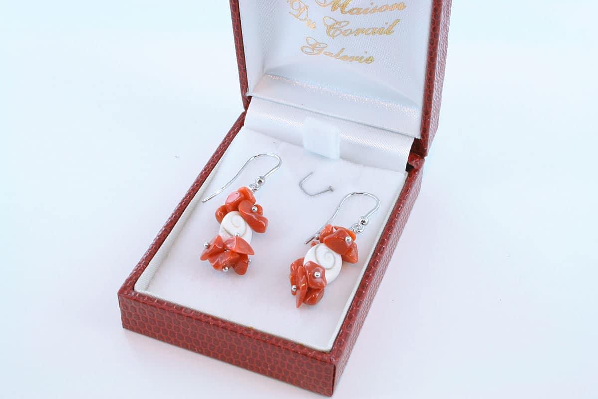 Boucles d'Oreilles en corail rouge et argent 925 par 1000 BO-CO-AR-022