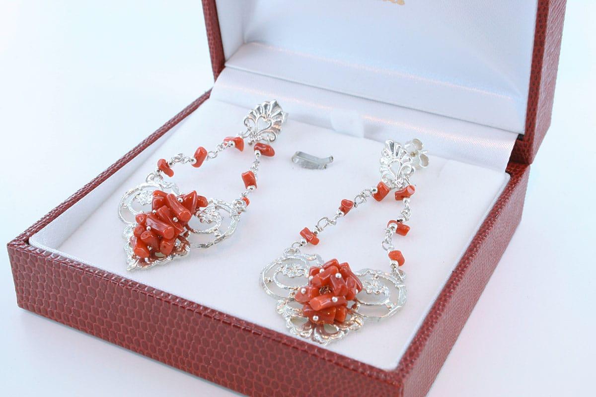 Boucles d'Oreilles en corail rouge et argent 925 par 1000 BO-CO-AR-027