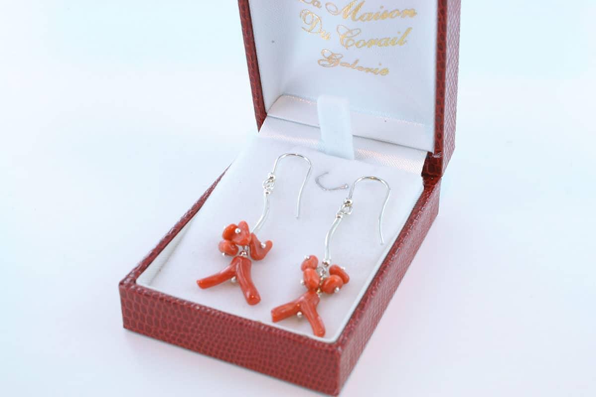 Boucles d'Oreilles en corail rouge et argent 925 par 1000 BO-CO-AR-029