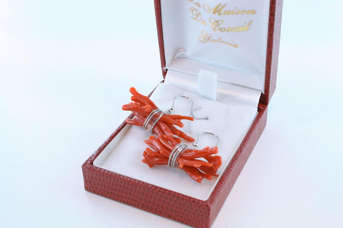 Boucles d'Oreilles en corail rouge et argent 925 par 1000 BO-CO-AR-031