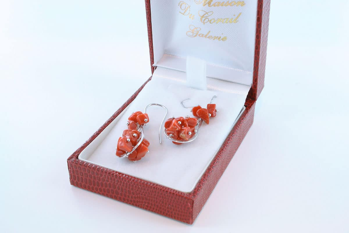 Boucles d'Oreilles en corail rouge et argent 925 par 1000 BO-CO-AR-033
