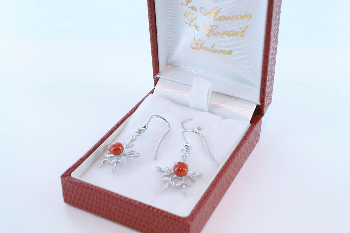 Boucles d'Oreilles en corail rouge et argent 925 par 1000 BO-CO-AR-035
